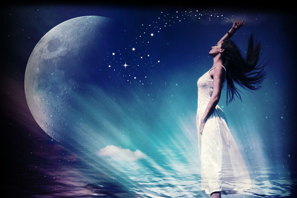 Woman and moon, with stardust